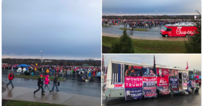 Thousand supporters line in the rain for President Trump's PA rally, call impeachment 'a sham'