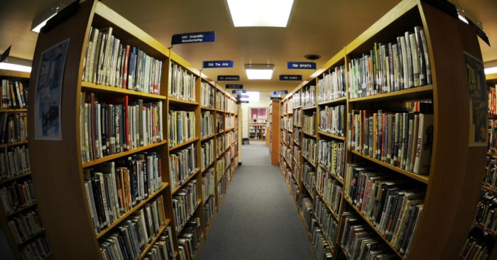 Illustrative image of a library corridor. (Jessica Hines/U.S. Air Force)