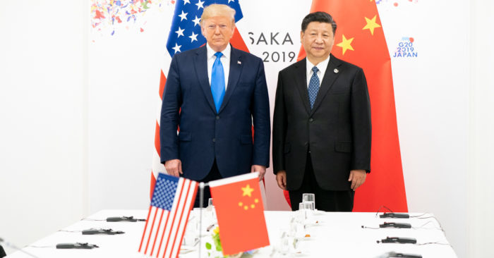 US President Donald J. Trump and his Chinese counterpart Xi Jinping, at the start of their bilateral meeting on Saturday 29 June 2019, at the G20 Summit in Osaka, Japan (Official White House photo by Shealah Craighead)