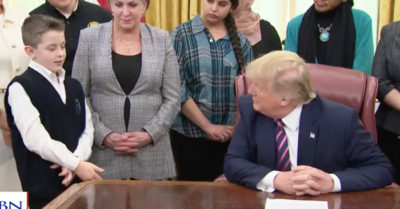 President Trump listens to students endured religious discrimination before unveiling law to put prayer back in schools