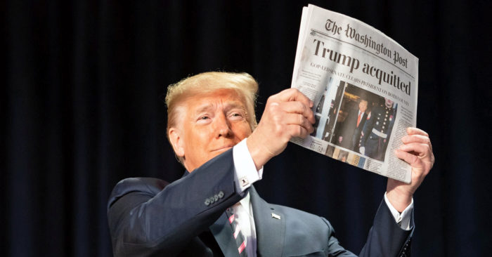 Donald Trump acquitted newspaper