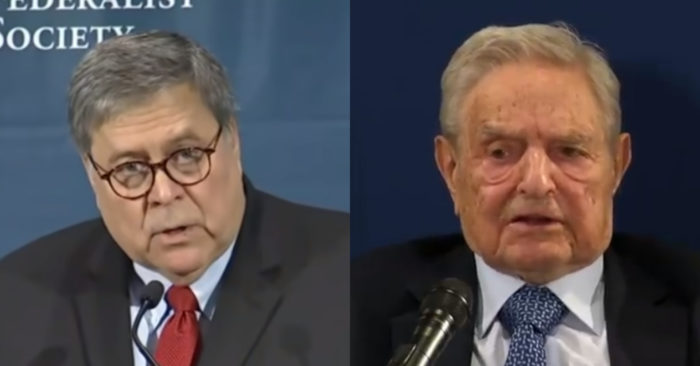 "Attorney General William Barr's indictment of Soros for ""increase in violent crime"""
