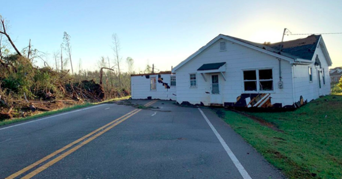 A house was dropped in the middle of Highway 74 in Upson County, Georgia after an apparent tornado early Monday. (Courtesy of Molly McCollum)