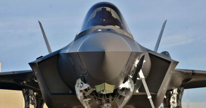 March 2, 2018: A U.S. Air Force F-35 Joint Strike Fighter (Lightning II) jet at Davis Monthan Air Force Base. This F-35 is assigned to Luke Air Force Base (Shutterstock)