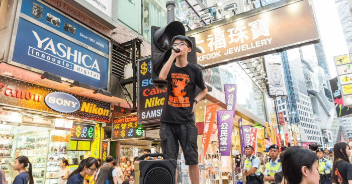Joshua Wong of Scholarism of Hong Kong is promoting. (Shutterstock)