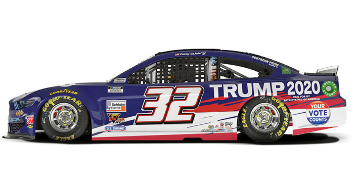 Trump 2020 Ford Mustang side