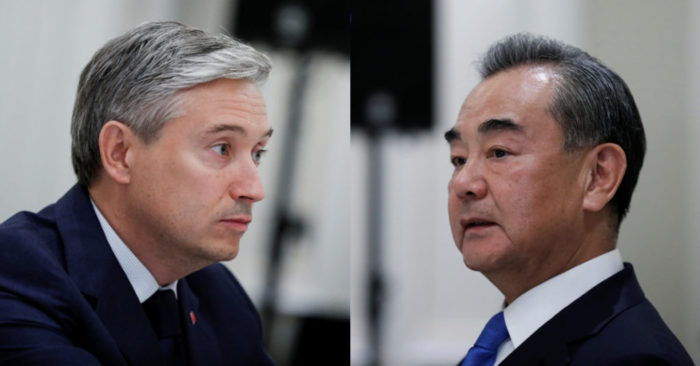 Canada's Foreign Minister Francois-Philippe Champagne and China's State Councillor Wang Yi during a meeting in Rome, Italy, August 25, 2020. REUTERS/Yara Nardi