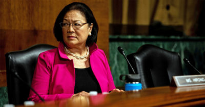 Democratic Sen. Mazie Hirono gives thumbs down and says 'hell no' during vote on new Supreme Court justice