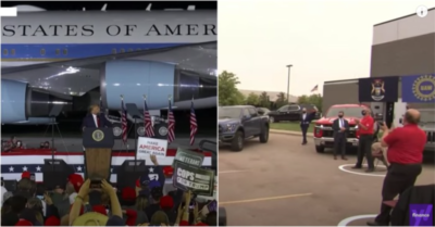 President Trump's packed Michigan rally contrasts with Joe Biden's dozen socially distant attendees