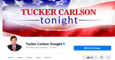 Facebook censors and defames the official page of Fox News host Tucker Carlson