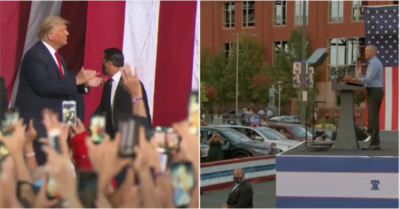 Obama holds rally for Biden before 280 cars, Trump holds person-in event with 20,000 attendees