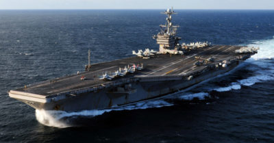 Iranian missile hits near US aircraft carrier, raising tensions in Indian Ocean