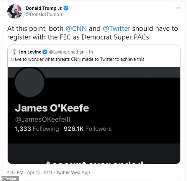 In a follow up tweet, he wrote: 'At this point, both CNN and Twitter should have to register with the FEC as Democrat Super PACs'