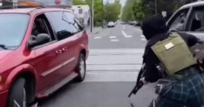 Black Lives Matter terrorists take to the streets of Portland and threaten passersby with weapons of war