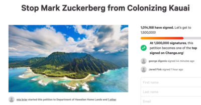 Facebook CEO scoops up 600 more acres in Hawaii despite locals protest, accused of 'neocolonialism'