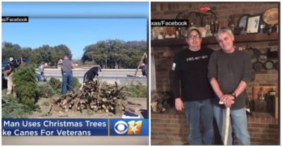 Texas man uses donated Christmas trees to make hundreds of hand-made canes for veterans