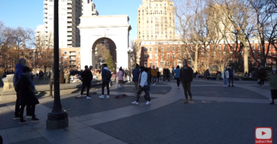 'The zombies are now near the fountain,' says nearby resident of Washington Square Park