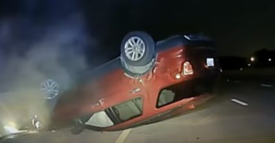 During a chase, a pregnant woman's car flipped when a state trooper nudged it