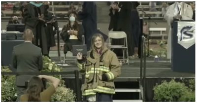 Firefighter's daughter wears her slain father's jacket on graduation day with 300 his colleagues in support