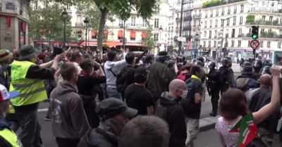 100,000 French protesters marching against the Vaccine Passport: Police lay down shields