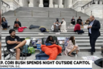 U.S. lawmaker spends the night protesting the return of evictions outside the Capitol