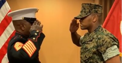 Millions of viewers were touched by the salute of a marine sergeant to his son