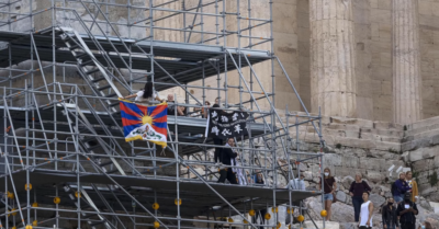 Students who unfurled an anti-Beijing Olympics banner at the Acropolis in Athens detained