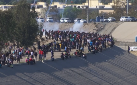 US border guards fire tear gas on migrants protesting in Mexico