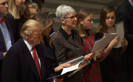 President Donald Trump arrived at Washington National Cathedral for a late service