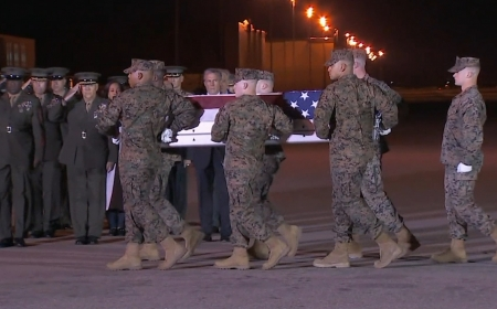 Remains of three US Marines killed in Afghanistan returned to the US